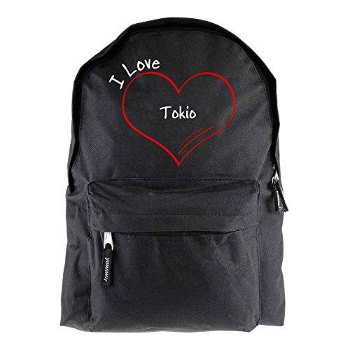 Rucksack Modern I Love Tokio schwarz - Lustig Witzig Sprüche Party Tasche