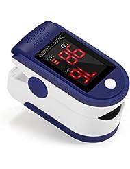 Oxímetro de Dedo GrandBeing, Medidor de Oxígeno en Sangre y Monitor de Frecuencia Cardíaca con Pantalla OLED, Pulsioxímetro Oxígeno en Sangre para Adultos y Niños (Baterías AAA no incluídas)