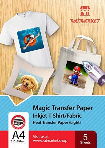 Transferpapier/Bügelpapier/Transferfolie für HELLE Textilien/Stoffe von Raimarket   5 Blatt   A4 Inkjet Bügeleisen auf Papier / Transferfolie / T-Shirt-Transfers   Textilefolien   DIY Stoffdruck (5)