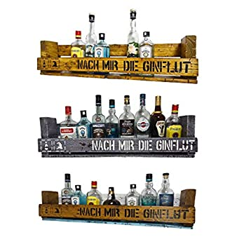""""""" Nach mir die Ginflut"""" SHaBBY ViNTaGe PaLeTTeNReGaL (HxLxT: 23x8ox9,5cm) im Frachtkisten Style aus Echtholz Gin Rum Whisky Wein Regal Wandbar. personalisierbar"""
