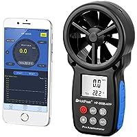 HoldPeak HP-866B-APP Digital Flügelrad Anemometer Windmesser mit Bluetooth Smartphone Handy App Grau/Blau
