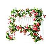 Rose Garland Künstliche Rose Vine mit grünen Blättern 160 cm Blumen Girlande für Zuhause Hochzeit Decor 3 Stück rot