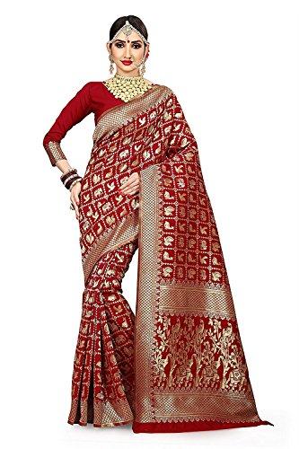 PMV Creation Women's Cotton Silk Patola Work Bridal Red Saree With Blouse...