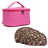 MPK Perfect Cosmetic Bag with Makeup Pouch for Women BROWN (PINK)