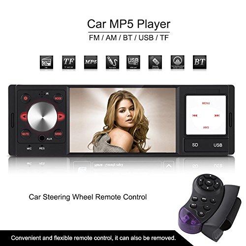 """Qiilu 4"""" DVD 1080P HD Autoradio avec Wince Système et Volant de Télécommande, Entrée Arrière de La Caméra et Audio AXU/FM/AM, Compatibilité de la carte SD et Interface USB Directement Lire Les Formats MP3 / MP4 / MP5 / AVI / RMVB / TXT / JPEG"""