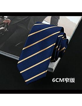 GENTLEE TIE Atar los hombres trajes de vestir corbata azul rayas amarillas versión coreana del estrecho lazo azul...
