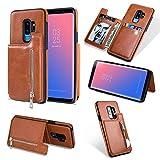Reißverschluss Brieftasche Handyhülle für Samsung Galaxy S9 Plus,Shinyzone Samsung Galaxy S9 Plus Hülle mit Kartenfächer [Magnetische Schnalle] Retro Premium PU Ledertasche Flip Ständer Zurück Schutzhülle-Braun
