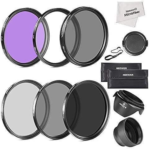 Neewer®58MM debe tener la lente filtro accesorio Kit para CANON EOS Rebel T5i T4i T3i T3 T2i T1i XT XTi XSi SL1 DSLR cámaras-incluye: Kit de filtro 58MM (UV, CPL, FLD) + filtro de densidad neutra ND Set (ND2, ND4, ND8) lleva bolsa + parasol plegable + Tulip parasol + tapa Snap-On frontal del objetivo + tapa Keeper Correa + paño de Liempieza