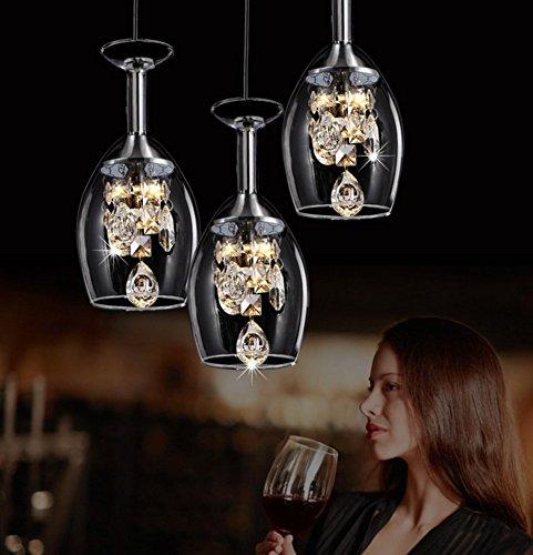 Cristallo Bicchiere di vino Lampadario a sospensione,Led Ristorante Pendente illuminazione,Romantici Plafoniera Moderna Creatività Tre teste Per e27-A