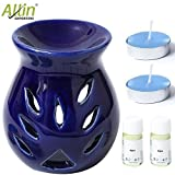 #3: Allin Exporters Combo Pack Ceramic Diffuser (2 Aqua Aroma Oils 4Ml Each) Essential Oil Burner, 2 Tea Light Candles With Holders (Blue)
