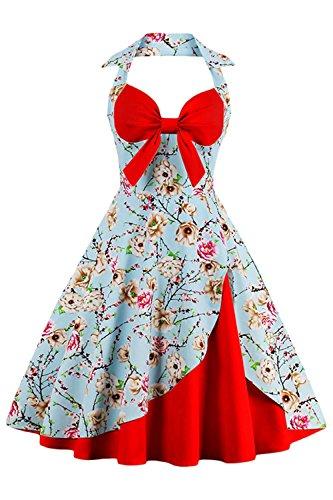 Robe de Soirée Cocktail Licou Rétro Vintage Impression année 1950 Audrey Hepburn Rockabilly Swing Grande Taille par Babyonlinedress Bleu-Rouge