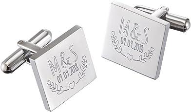 Gravado – Manschettenknöpfe mit Gravur – Hochzeit – Personalisiert - Farbe Silber - mit Geschenkbox - Schmuck für Herren