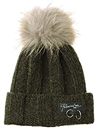 5ca5557ea14 WITHMOONS Strickmützen Seemannsmütze Knitted Real Fur Pom Pom Beanie Hat  Slouchy NC5838