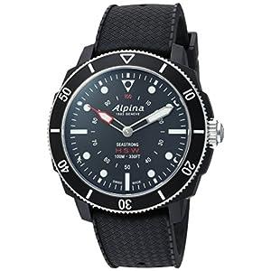 Alpina hombres del 'Horological Smart de cuarzo acero inoxidable y goma reloj deportivo, color: negro (modelo: al-282lbb4V6)
