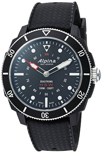 Alpina Men's 'Horological Smart' Quartz Stainless Steel and Rubber Sport Watch, Color:Black (Model: AL-282LBB4V6)