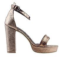Ayakland 1605-1166 Günlük 10 Cm Topuk Bayan Cilt Klasik Ayakkabı BAKIR