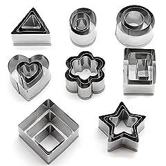 Idea Regalo - Set di 24 stampi per biscotti in acciaio INOX (forme: cuore, fiore, stella, cerchio, quadrato, rettangolo, triangolo, ovale) da Kaishan