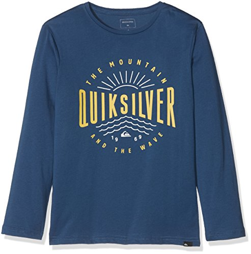 Ls Tee T-shirt (Quiksilver Jungen LS Tee Youth Classic Mad Wave-Long Sleeve T-Shirt, Dark Denim, S/10)