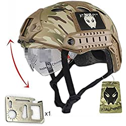 Combat SWAT PJ de estilo Military Army tipo Casco Fast w/MC gafas de estampado militar de caza para ciclismo de alta montaña para Paintball