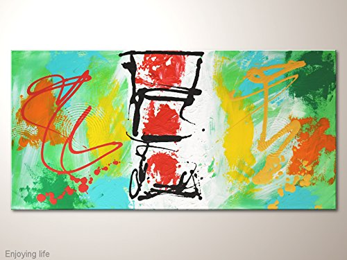 "Acrylbilder, Original Gemälde bunt: \""Enjoying life\"" - Vielfarbiges dynamisches Wandbild, abstraktes Künstlerbild"