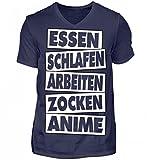 Essen Schlafen Arbeiten Zocken Anime - Herren V-Neck Shirt