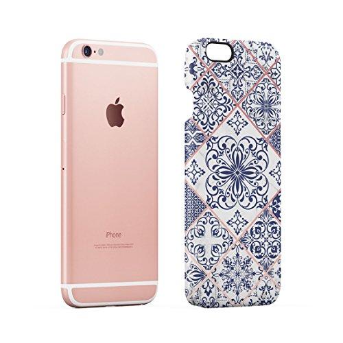 Light Blue Moroccan Ornaments Mosaic On White Marble Dünne Rückschale aus Hartplastik für iPhone 6 Plus & iPhone 6s Plus Handy Hülle Schutzhülle Slim Fit Case cover Blue Moroccan