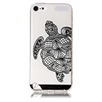 For iPod Touch 5th/6th Generation Case [With Tempered Glass Screen Protector],Qimmortal(TM) Colourful Painting Pattern Soft Gel TPU Silicone Personality relief pattern Scratch Resistant Protective Cell Phone Case Cover For iPod Touch 5th/6th Generation(Tortoise)