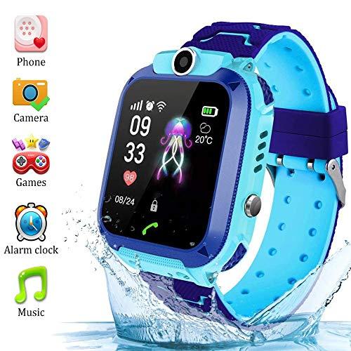 �r kleine Kinder Telefonfunktion mit SIM Kinder Smartwatch Uhr für 3, 5, 7, 9, 10, 12 Jahre Jungen Wasserdicht SmartWatch für Kinder Blau Handy Touchscreen Spiel Kamera Voice Chat ()