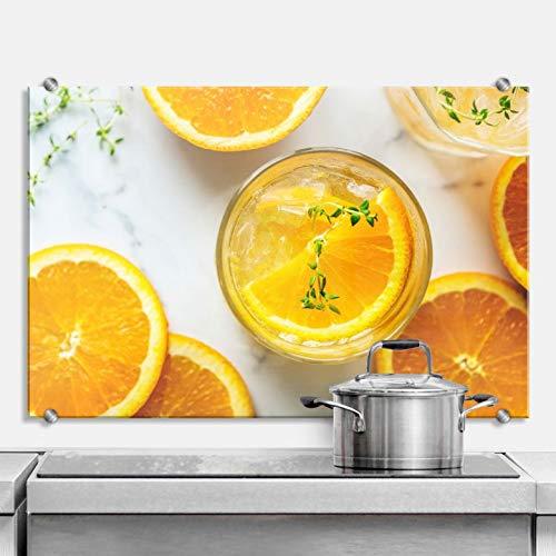 Spritzschutz Frische Orange Küche Küchenrückwand Kochen Orangensaft Scheiben Obst frisch Glas Wall-Art - 100x70 cm - Getränke Orangensaft