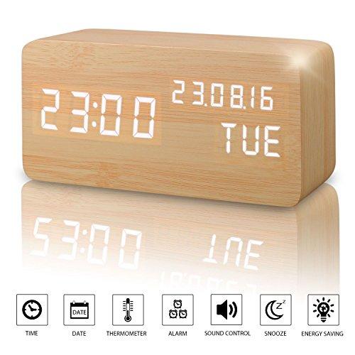 comprare on line Sveglia Digitale Legno LED Elettrica da Comodino Tavolo Sensore del Suono per l'attivazione con Temperatura Orologio Sveglie Digitali Wooden Alarm Clock Clocks Per Bambini (Bambù) prezzo