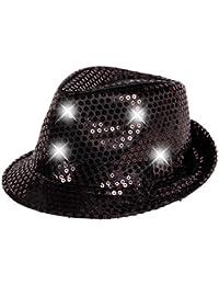 Chapeau de style trilby pailleté avec LED clignotant, paillettes accessoire deguisement fête soirée à thème disco ambiance spéctacle homme femme jeune moderne