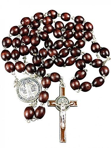Motivationsgeschenke Rosenkranz Benediktus Medaille Holzperle dunkel oval 48 cm Gebetskette Kruzifix