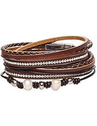 Damen Armband Leder Strass Wickelarmband Kristall Armkette Armschmuck Pro new de