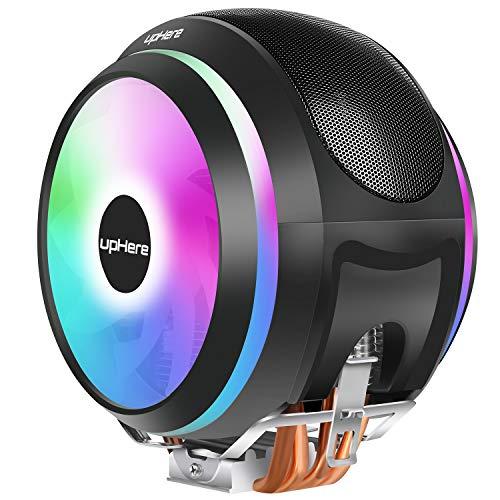 upHere Rainbow LED Ventilateurs de Processeur PC 4 Heatpipes, 2X Ventilateur 120mm PWM, 4-Pin CPU Cooler- Support Intel &AMD (CCF150CF)