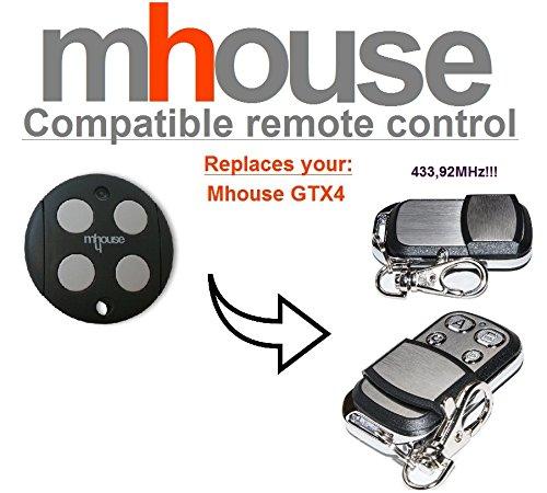 Mhouse GTX4 Compatible Télécommande. 433.92Mhz rolling code Mhouse replacement remote control