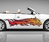 2x Seitendekor 3D Autoaufkleber Drache Dragon Feuer Digitaldruck rot Auto Tuning bunt Seite Aufkleber Rennstreifen Seitenstreifen Dekor Racing Autofolie Car Wrapping Motorrad LKW Decals Sticker Tribal Seitentribal CW001 Airbrush Carwrap, Größe LxB:ca. 160x40cm