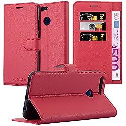 Cadorabo Coque pour Honor 8 Pro en Rouge Cerise - Housse Protection avec Fermoire Magnétique, Stand Horizontal et Fente Carte - Portefeuille Etui Poche Folio Case Cover