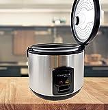 Elektrischer Reiskocher Schwarz 1,8 L Dampfgarer 700 W Reiswärmer Risottokocher Sushireis Warmhaltefunktion (Schwarz)