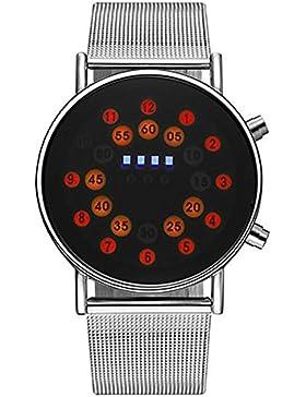 Mode Rot Led Roll Ball Style Anzeige Edelstahl Uhrenarmband Quarz Herren Armbanduhren