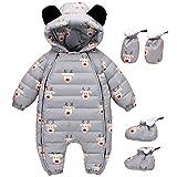 Baby Winter Overall Mit Kapuze Weihnachten Daunen Schneeanzüge mit Handschuhen und Füßlinge Kleidungsset Grau 6-9 Monate