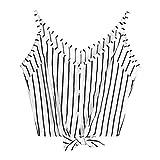 iYmitz Damen Lässige V-Ausschnitt Streifen Knopf Sachte Krawatte Vorne Crop Cami Tops Camisole Hemd Weste Bluse T-Shirt Oberteil Tees(Weiß,XL)