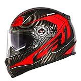 MT&CHEYTN Carbon Fiber Motorrad Helm Dual Visier Airbags Schwarzer Visier Vollgesichtshelm red Frequency 2 L