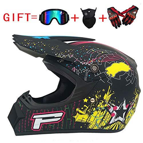 ZHYY Erwachsene Off-Road-ATV Scooter Fahrrad-Voll-Face-Helm, geeignet für Vier-Seonen-Männer und Frauen Reitgeschuss, Geschenkgutscheine, Langlaufhandschuhe und Maske,L