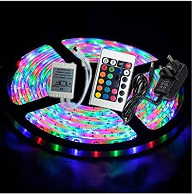 Noza Tec 5M 300 Leds SMD 3528 or 5050 RGB LED Strip Kit + Power Adapter + IR Remote Controler , Waterproof or Non-Waterproof Light Tape - low-cost UK light shop.