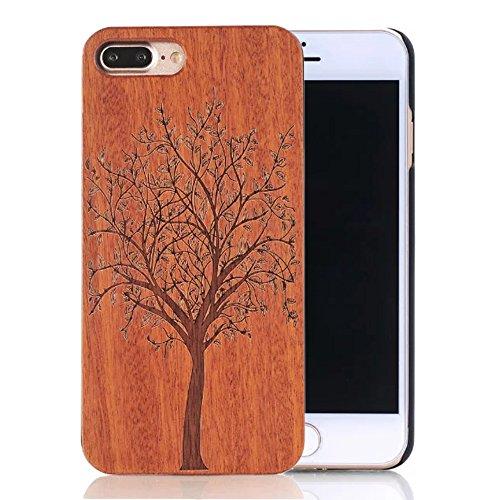 """Coque iPhone 7 Plus 5.5"""", Sunroyal® Coque pour iPhone 7 Plus Bois Véritable + PC Bumper Dur Hard Housse Etui Hybride en Bois Naturel Sculpté Wood Case Cover de Protection pour Apple iPhone 7 Plus 5.5  Bois-01"""