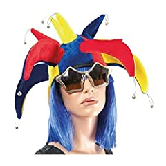 Idea Regalo - P'TIT CLOWN 91063 Cappello in velluto, giullare del re, con sonagli, da adulto, multicolore