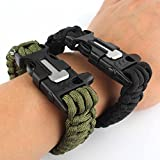 Generic Pack of Two Survival Bracelet Paracord Whistle Gear Flint Fire Starter Scraper Kits Outdoor (Black & Army Green)