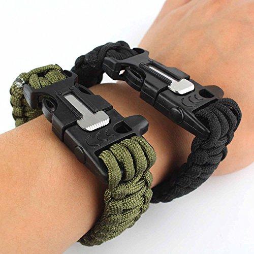 SORA H® Juego de dos pulseras de supervivencia con silbato, cuerda, mechero, rasqueta para aire libre (negro y verde)