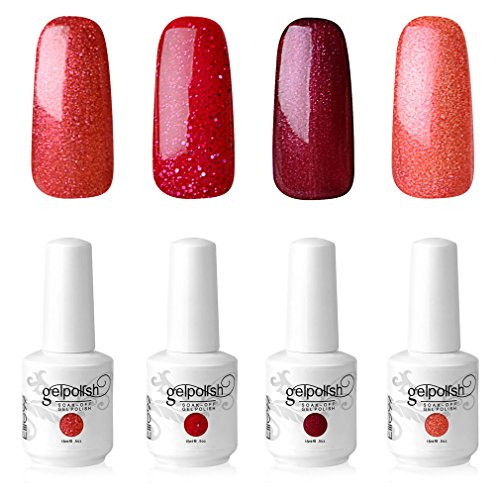 Elite99 Smalto Semipermente per Unghie in Gel UV LED 4 Colori Kit per Manicure Smalti Gel per Unghie Soak Off Base Coat Top Coat - Kit225