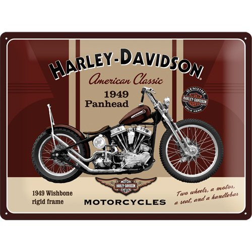 Nostalgic Art Harley Davidson Panhead - Placa decorativa, metal, 30 x 40 cm, color beige y marrón